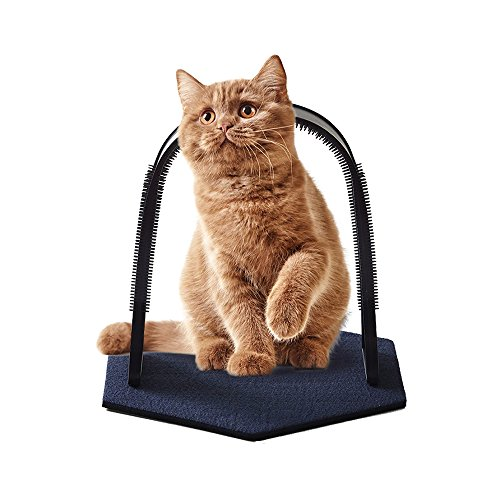 Petsidea Plastic Cat Self Grooming Scratcher Rubbing Device Cat Back Scratching Arch Self-groom Pet Hair (Blue)