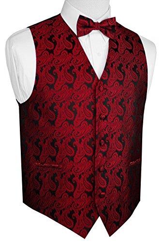 Mens Combination Suit - Brand Q Men's Paisley Vest Bow-Tie Set-Apple 2XL