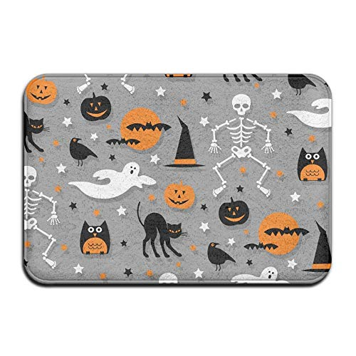 Carl McIsaacDoor Absorbent Room Entrance Doormat, Halloween Bat Pumpkin Skulls, Indoor Entrance Rug Floor Mats Doormat 16 x 24 Inch -