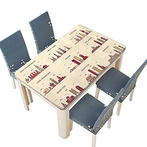 PINAFORE Polyesters Tablecloth American Cities san Francisco New York Chicago Los Angeles Miami Atlanta Boston Seattle Wedding Birthday Baby Shower Party W25.5 x L65 INCH (Elastic Edge)]()