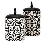 Set of 2 Decorative Jet Black and White Ceramic Canisters 12.25""