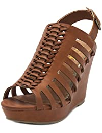 Women's Cacey Platform Wedge Heeled Sandal with Back Buckle Closure