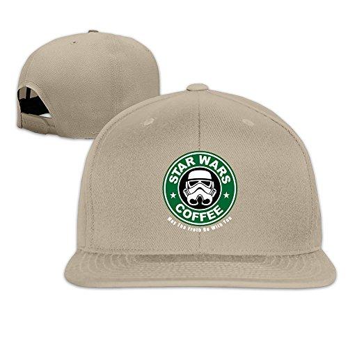 Custom Unisex-Adult Mask Coffe Flat Brim Hip Hop Hats Caps Natural