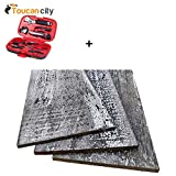 Toucan City Tool Kit (9-Piece) and 1/4 in. x 5 in. x 2 ft. Whitewash Reclaimed Smart Paneling 3D Barn Wood Wall Plank (Design 4) (12 – Case) 11338
