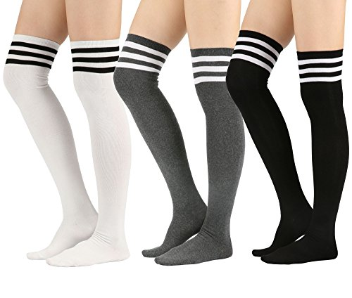 STYLEGAGA Womens Over The Knee High Socks (One Size : XS to M, Triple Stripe-3Pair)