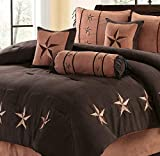 110 X 96 Comforter 7 Piece Luxury Suede Western Lodge Oversize and Overfilled Star Comforter Set (Brown/Coffee, King)