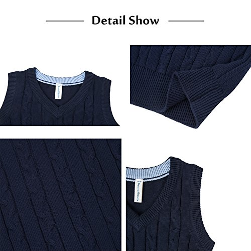 Benito & Benita Boys' Sweater Vest School V-Neck Uniforms Cotton Cable Knit Pullover Sweaters for Boys/Girls 3-12Y Navy by Benito & Benita (Image #3)