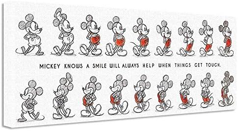 ディズニー ミッキーマウス アートパネル 30cm × 78.5cm ワイドサイズ 日本製 ポスター おしゃれ インテリア 模様替え リビング 内装 スケッチ シンプル モノクロ ファブリックパネル dsny-w-1710-01
