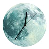 Happy Hours - 30cm Luminous Moon Decor Quartz Wall Clock / Creative Glow in the Dark Wall Stickers for Kids, Boy, Girls Bedroom, Children Room, Playroom With Super Silent Movement(Classic)