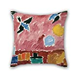 lovely southwest patio design ideas Oil Painting Alexei Jawlensky - With Red Swallow-Patterned Wallpaper, 1915 Throw Pillow Case Best For Boy Friend Living Room Bedding Chair Home Club 18 X 18 Inches / 45 By 45 Cm(two Sides)