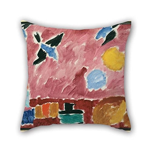 The Oil Painting Alexei Jawlensky - With Red Swallow-Patterned Wallpaper, 1915 Throw Pillow Case Of 20 X 20 Inches / 50 By 50 Cm Decoration Gift For Sofa Floor Saloon Monther Living Room Birthday (Oil Painting Reading)