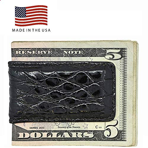 Glazed Money Clip - Black Glazed Genuine Crocodile Money Clip - Magnetic - American Factory Direct - Strong Shielded Magnets - Money Holder - Money Holder - Made in USA by Real Leather Creations FBA499