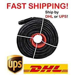 3/8\'\' x 85\' Black Synthetic Winch Line Cable Rope 20500LBs w/ Rock Guard and Heat Guard
