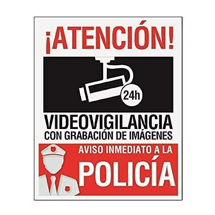 Pegatina-Cartel disuasorio alarma 15 x 19cm Atencion alarma conectada videovigilancia con grabación de imágenes. Uso exterior Pegatina identificativo ...