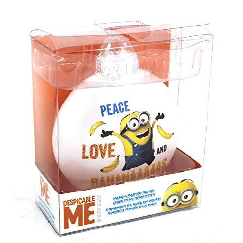 [Despicable Me Minions Kurt Adler Glass Ornament Gift Boxed (Peace Love Banana)] (Despicable Me Glasses)