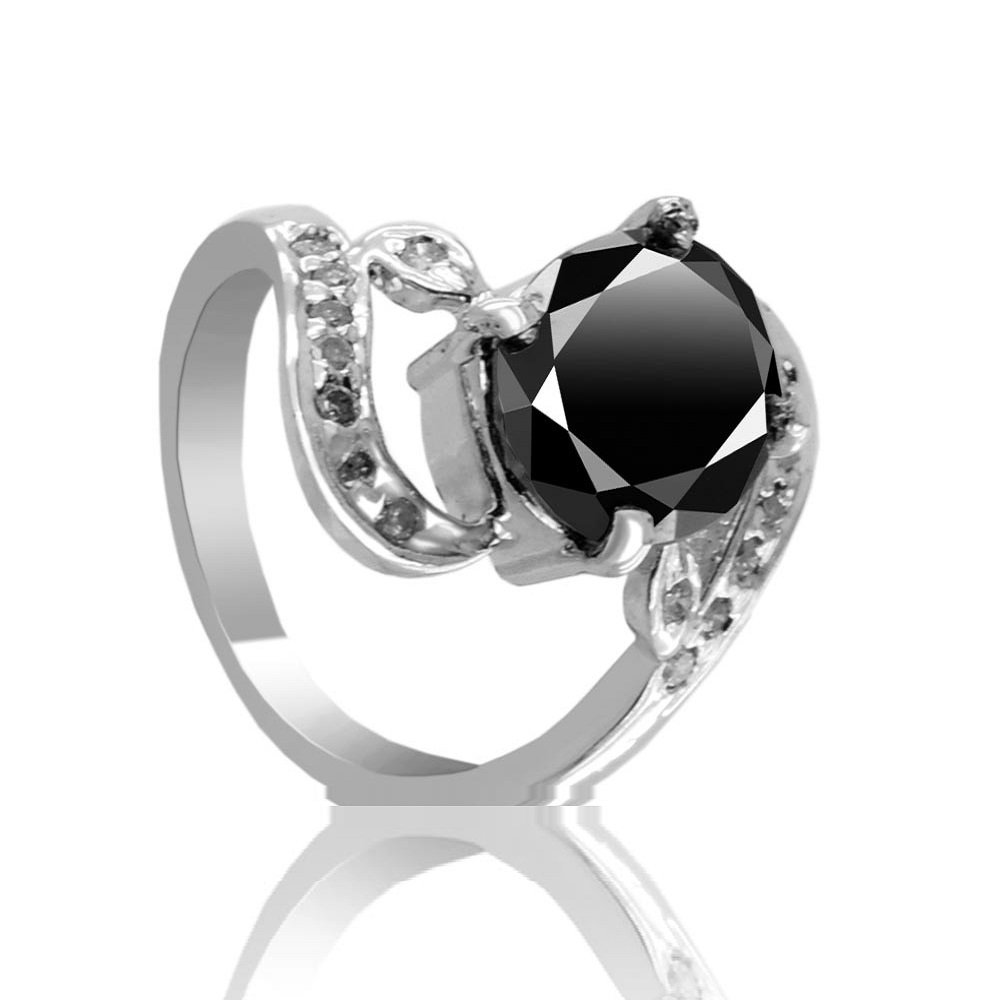 2.40 Ct Black Diamond with Diamond Accents Fancy Designer Silver Ring Gift for Wife