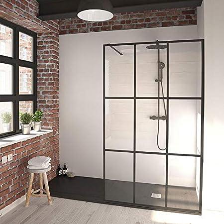 Mampara de ducha fija SINGLE de cristal de 8 mm, cristal negro: Amazon.es: Bricolaje y herramientas