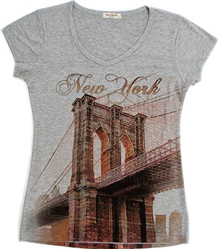 (Sweet Gisele New York T-Shirt Featuring Brooklyn Bridge with Rhinestones Grey)