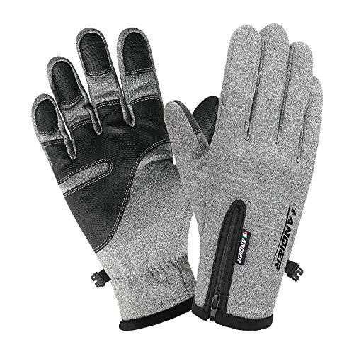 Lanyi Winter Waterproof Outdoor Gloves for Men Women Touchscreen Windproof Cycling Driving Climbing Thermal Gloves Warm Liner (Grey, Medium)