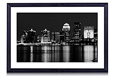 "Louisville Skyline Kentucky - Art Print Black Wood Framed Wall Art Picture For Home Decoration - Black and White 20""x14"" (50cmx35cm) - Framed"