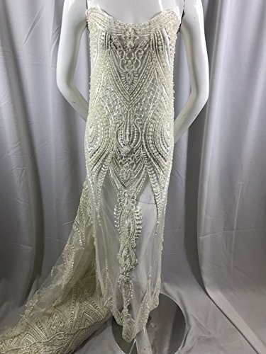 Lace Fabric - Embroidered Beaded & Pearls Bridal mesh Ivory Wedding Dress by The Yard