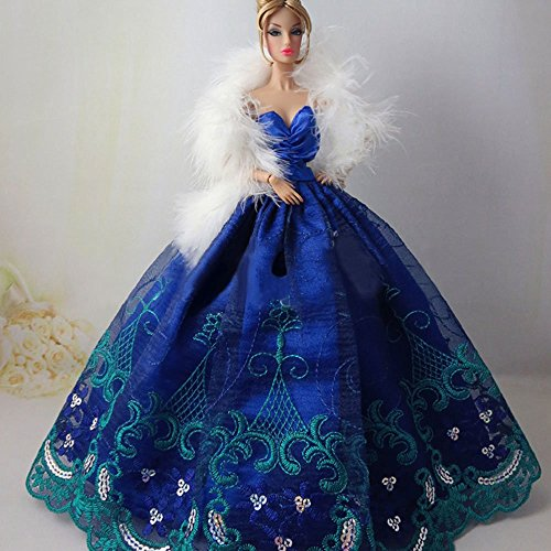 CreaTion Elegant Beautiful Embroidery Design Wedding Evening Party Ball Dress for Barbie Doll-Blue