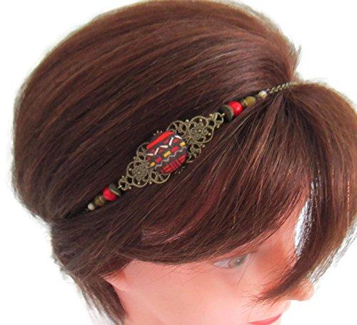 Headband Ethnique Rouge Jaune Et Bronze Headband Cabochon Tissu