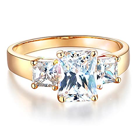 Wellingsale Ladies Solid 14k Yellow Gold Polished CZ Cubic Zirconia Radiant Cut Three 3 Stone Engagement Ring - Size - 3 Stone Four Prong Ring