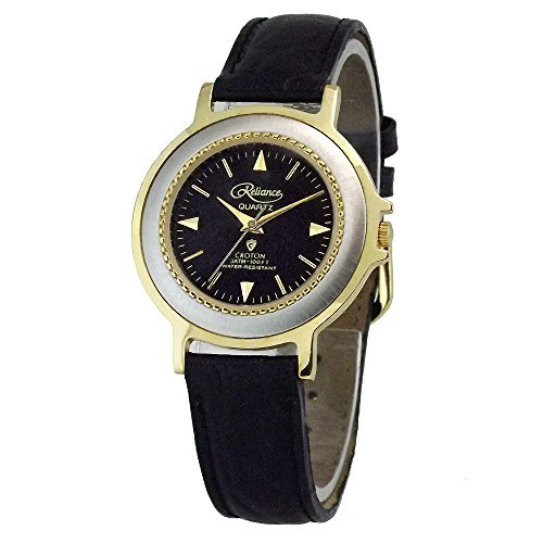 CROTON Reliance Two Tone Strap Watch with Black Dial. Model: R13633W