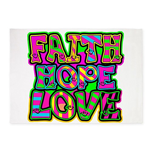 5' x 7' Area Rug Faith Hope Love Neon by Royal Lion