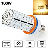 100W LED Corn Light Bulb, Derlights 550-600 Watt Metal Halide CFL Replacement,13000 Lumens,360 Degree Lighting, 3000K Warm White, High Power Corn Light for High Bay Warehouse Parking Lot, AC85-265V