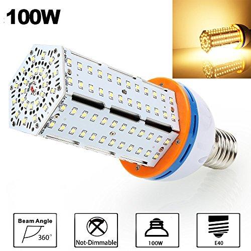 100W LED Corn Light Bulb, Derlights 550-600 Watt Metal Halide CFL Replacement,13000 Lumens,360 Degree Lighting, 3000K Warm White, High Power Corn Light for High Bay Warehouse Parking Lot, ()