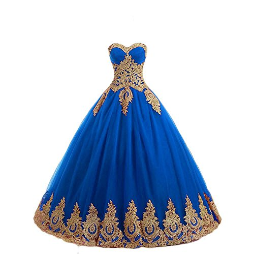 Onlybridal Women's Quinceanera Dress Tulle Appliques Strapless Lace up Corset Sleeveless Ball Gown Sweet 16 Dress Blue