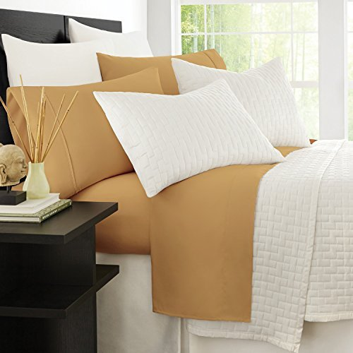 Zen Bamboo Luxury 1500 Series Bed Sheets - Eco-friendly, Hypoallergenic and Wrinkle Resistant Rayon Derived From Bamboo - 4-Piece - King - Gold - Gold Trim Bamboo