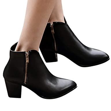 09c199a04c7 Amazon.com: Women Chunky High Heel Platform Ankle Boots Side Zipper ...