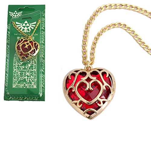The Legend of Zelda Skyward Sword Heart Container Keychain Cosplay Pendant Jewelry Necklace (Red Necklace)