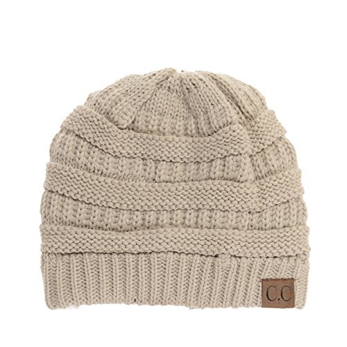 Yourstyle USA Trendy Warm Chunky Soft Stretch Cable Knit Slouchy Beanie (One Size, - Knit Chunky Cable Hat