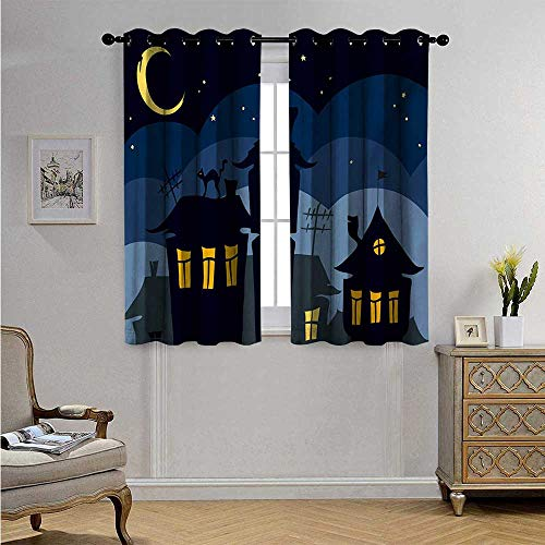 HalloweenWaterproofWindowCurtainOld Town with Cat on The Roof Night Sky Moon and Stars Houses Cartoon Art Blackout Drapes W63 x L72(160cm x 183cm) Black Yellow Blue ()