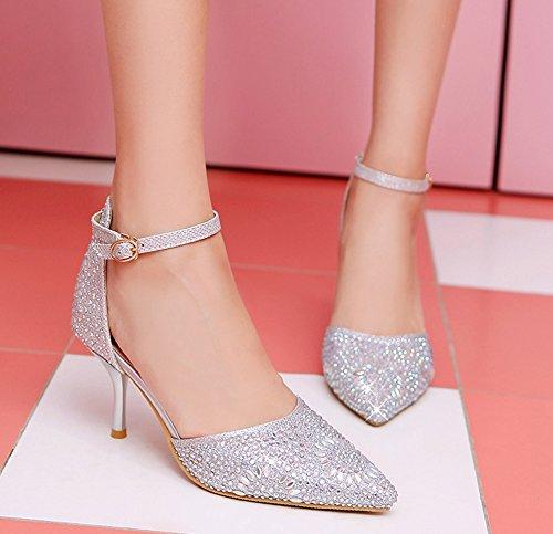 Style Belle Strass Femme Boucle Argent Brillant Aiguille Escarpins Pointue Aisun Talon ZUqE8wyw