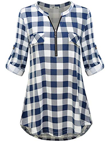Shirts for Women Work Casual, Ladies Fall Clothes Zip Up V Neck 3 Quarter Cuff Sleeve Wear to Work Career Checkered Tunic Tops and Blouse Blue White Plaid Extra Large