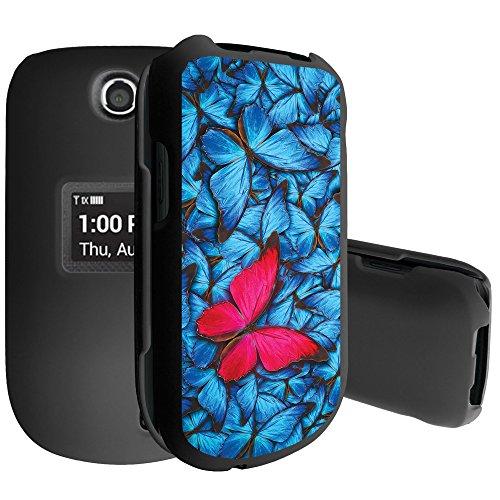 (Untouchble Case for LG Envoy 3, LG Revere 3 Case, Black Rubberized Slim Two Piece Hard Plastic Case - Blue Pink Butterfly)
