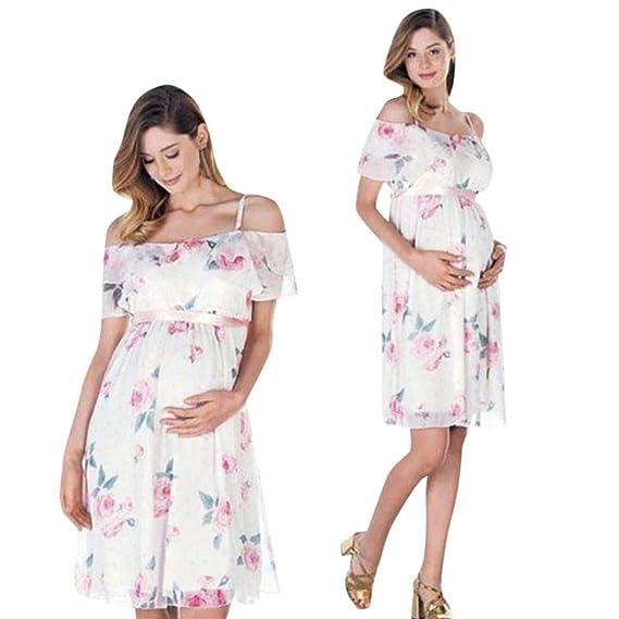 BBsmile Ropa premamá Madre de Mujer Floral Falbala Embarazada Vestido de Hombro para la Ropa de Maternidad: Amazon.es: Ropa y accesorios