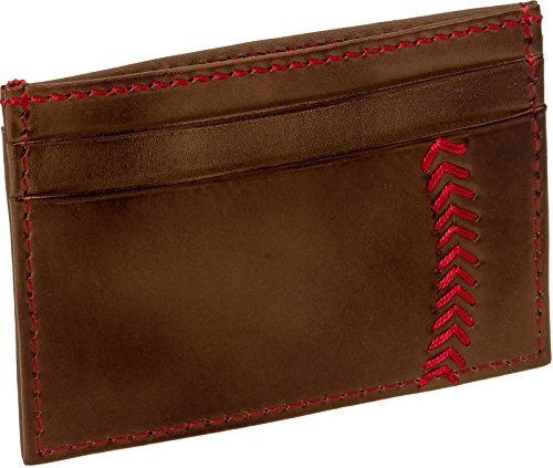 Rawlings Men's Leather Baseball Stitch Front Pocket Card Wallet (Light ()