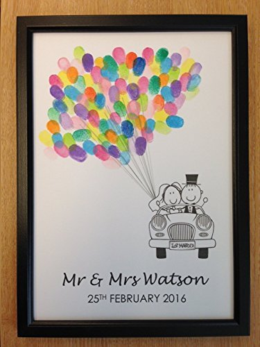 Fancy Pants Frame (PERSONALISED WEDDING GUEST BOOK ALTERNATIVE FINGERPRINT TREE COLOURFUL BALLOONS DECORATION FAVOUR GIFT- WITH FRAME & RAINBOW INK PAD by Fancy Pants Store)