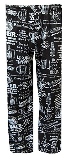 Beer Phrases Black Lounge Pants for men (Medium)