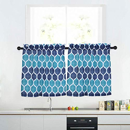 Cafe Kitchen (Haperlare Kitchen Cafe Curtains, Geometric Pattern Short Bathroom Window Curtain, Trellis Design Half Window Covering Tier Curtains, 28