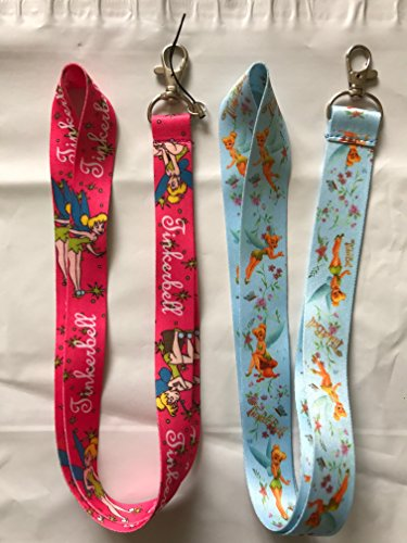 Set of 2 : Pink + Blue Tinkerbell Lanyard keychain Holder