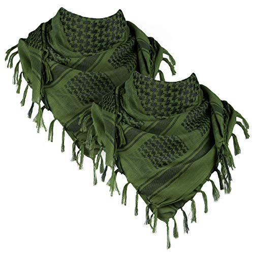 FREE SOLDIER 100% Cotton Scarf Military Shemagh Tactical Desert Keffiyeh Head Neck Scarf Arab Wrap with Tassel 43x43 inches