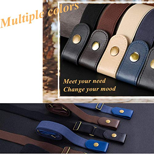 "No Buckle Stretch Belt, Women Men Buckle-Free Invisible Elastic Belt for Jeans, Adjustable Casual Stretch Fancy Belt, Fashion Plus Size No Show Stretch Belt, Black+Coffee, Suit pants size 32""-51"""