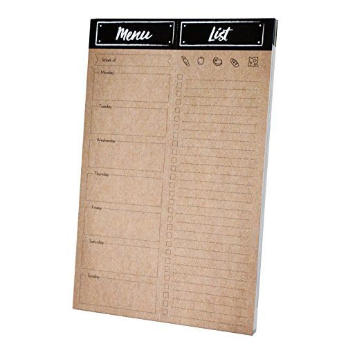 Home Advantage - Weekly Meal Planner Pad with Tear Off Grocery List and Magnet (Kraft) Made in the U.S.A. by Home Advantage